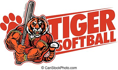 tiger softball team design with muscular mascot for school,...