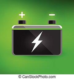 Green car battery design icon - Concept automotive 12 volt...