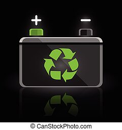 Recycle car battery design icon - Concept recycle vehicle...