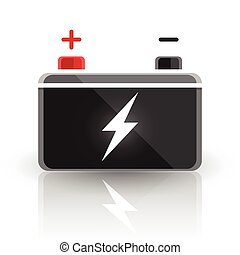 12 volt car battery design icon - Concept automotive 12 volt...