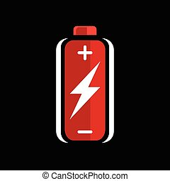 Battery flash power charge icon - Red AA battery charge icon...