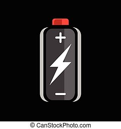 Battery flash power charge icon - Black battery charge icon...
