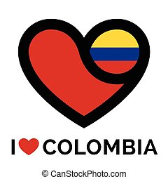 Love heart Colombia flag icon