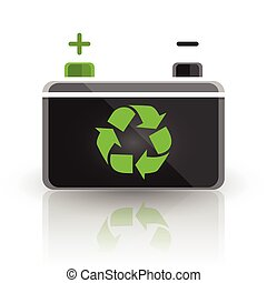 Concept recycle automotive car battery design on white...