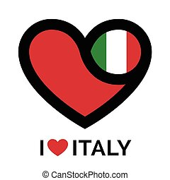 Love heart Italy flag icon