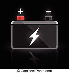 12 volt car battery design icon - Concept automotive 12 volt...