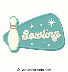 Vintage Bowling Sign - Vintage bowling sign in traditional...