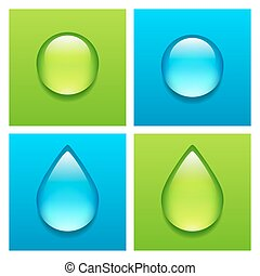 Blue and green water drops