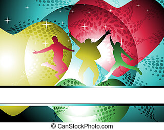 music background - silhouettes of jumping happy man and...