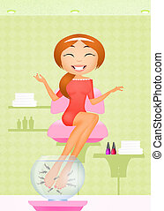pedicure with garra rufa - illustration of pedicure with...
