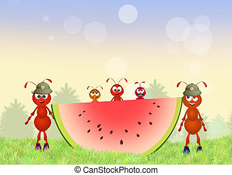 funny army of red ants - illustration of funny army of red...