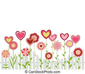 flowers with heart shapes with fence. abstract retro love greeting card. vector