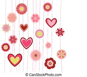 flowers and heart shapes background. retro love greeting card. vector