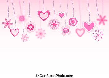hanging flowers and heart shapes background. retro love greeting card. vector