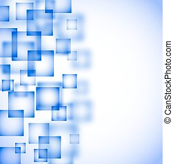 abstract blue background with flying transparent squares. vector
