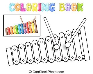Coloring xylophone on white background