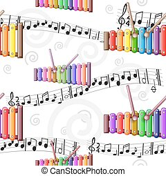 Colored toy xylophone pattern