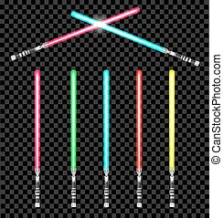 light swords with color variations. vector