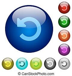 Color undo changes glass buttons - Set of color undo changes...
