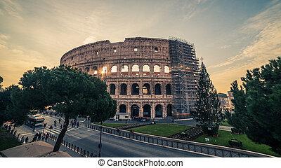 Rome, Italy: Colosseum, Flavian Amphitheatre, in the sunrise