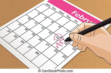 Mark on the calendar at 14 feb pink color