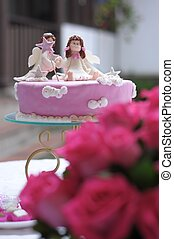 roses and cake - beauty pink roses