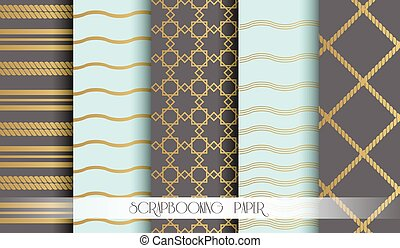 Seamless pattern set in gold for scrapbooking paper. Vintage style vector design templates