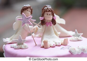 cake white dolls - beauty pink cake