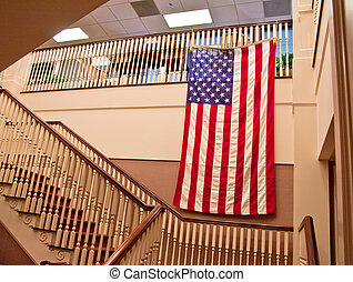 Flag on Office Stairs