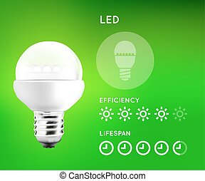 LED Light Bulb Infographic - LED Light Bulb infographic with...