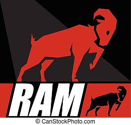 Conceptual Design of a Ram or a Goat Symbol Vector...