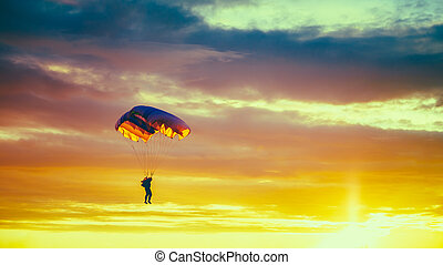 Skydiver On Colorful Parachute In Sunny Sunset Sky. Active...