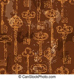 Seamless pattern with golden Antique Vintage Keys in grunge style on brown background.