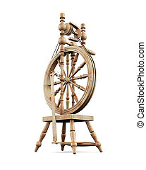 Old wooden spinning wheel on white background 3d rendering