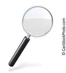 Magnifying glass on a white background loupe 3d illustration...