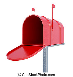 An empty mailbox 3d rendering - An empty mailbox isolated on...