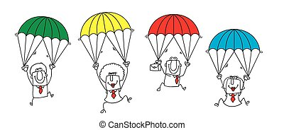 paratrooper business team - this group of businessmen and...