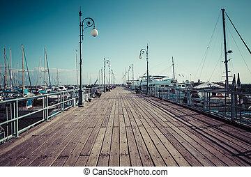 Wooden pier in Larnaca port, Cyprus
