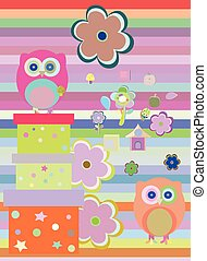 Background with flower, owls and gift boxes. vector illustration