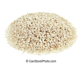 Sesame seed heap closeup on white background