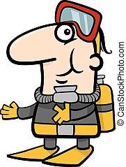 scuba diver cartoon illustration - Cartoon Illustration of...