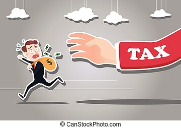 Businessman Running Away from Tax - A vector illustration of...