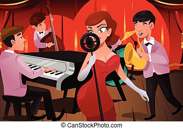 Jazz Band with a Female Singer - A vector illustration of...