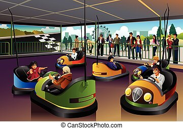 Kids Playing Car in a Theme Park - A vector illustration of...