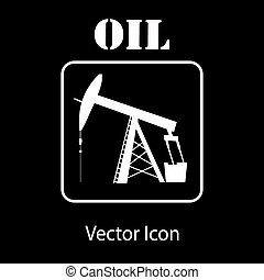 oil pump jack silhouette - oil pump jack icon in white...