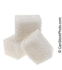 White sugar cube - Sugar cube closeup view on white...