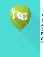 Long shadow balloon with a dollar bank note - Illustration...