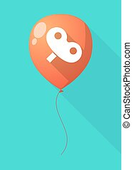 Long shadow balloon with a toy crank - Illustration of a...