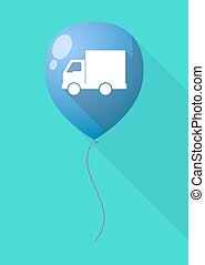 Long shadow balloon with a  delivery truck