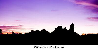 Moutain silhouete in sunset time - Mountain silhouete in...